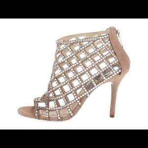 Michael Kors Yvonne Crystal & Suede Caged Bootie